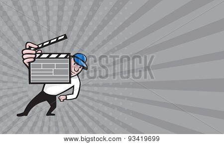 Business Card Director With Movie Clapboard Cartoon