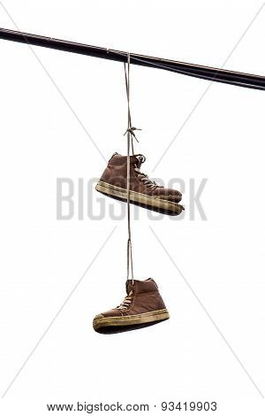 Shoe Tossing, Old Sneakers Hanging On Wire