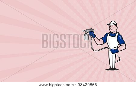 Business Card Spray Painter Spraying Gun Cartoon