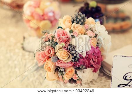 Beautiful Wedding Bouquet With Roses And Hydrangea