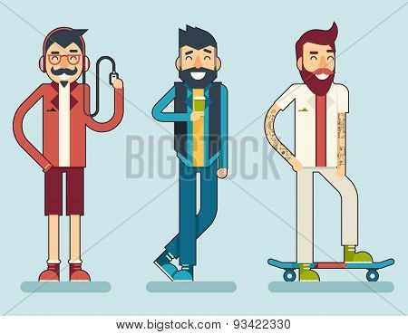 Happy Smiling Man Geek Hipster Character Icon Travel Lifestyle Vacation Tourism and Journey Symbol B