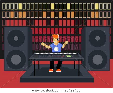 Musician Synthesizer Modern Music Player Concept Character Icon Flat Design on Stylish Sound Waves P