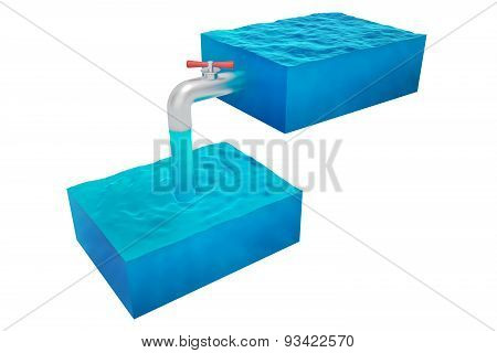 two isolated cube of water
