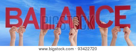 Hands Holding Red Straight Word Balance Blue Sky