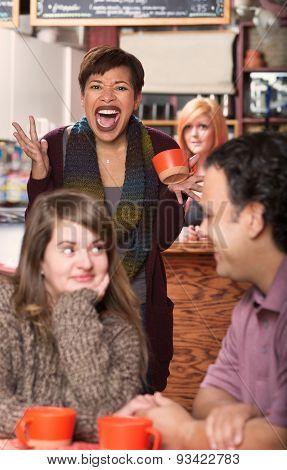 Upset Woman Sees Dishonest Boyfriend