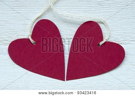 Two Red Hearts With Copy Space