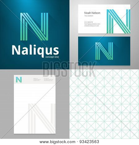 Design Icon N Element With Business Card And Paper Template