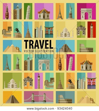Travel. Set of elements - Italy, USA, America, New York, Russia, Moscow, Paris, France, Thailand, Ch