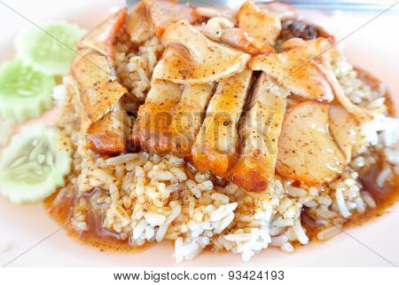 Crispy Pork With Rice. Closeup Thai Food ,crispy Roasted Belly Pork Chinese Style And Rice