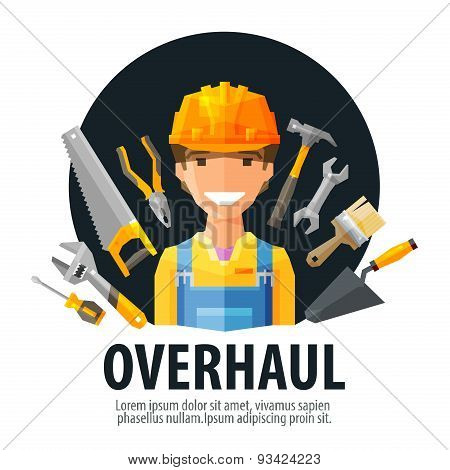 overhaul vector logo design template. worker and tools or builder, constructor, construction company