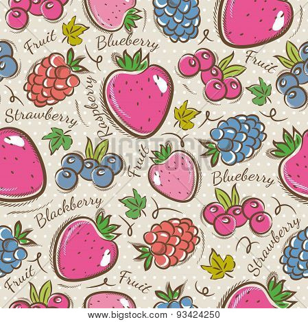 Background With  Strawberry And Raspberry.