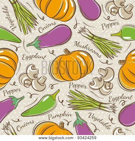 Background With  Pepper, Eggplant And  Pumpkin