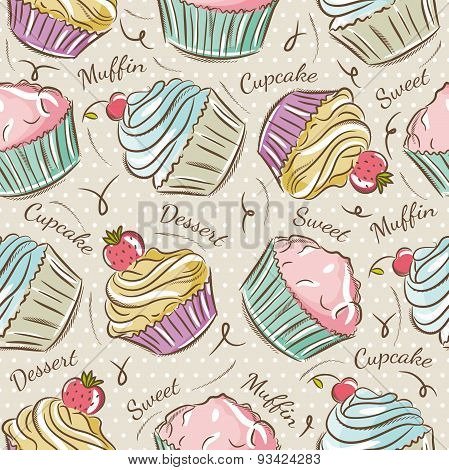 Pattern With Cupcakes.