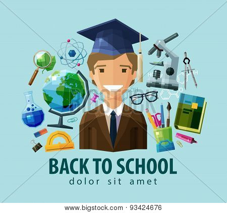 back to school vector logo design template. education, schooling or student, study, science icon. fl