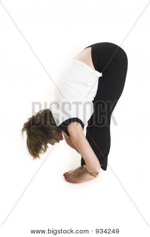 Woman In White T-Shirt Doing Yoga