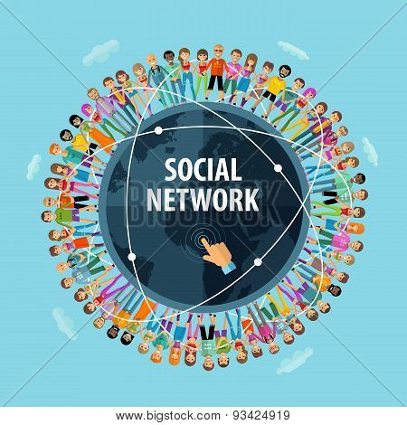 social network vector logo design template. people or friendship icon.