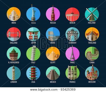 Travel. Set of elements - America, India, USA, Russia, Berlin, Holland, England, Japan, Rome, German