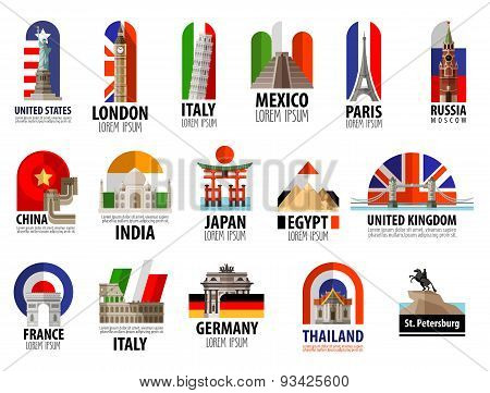 countries of the world vector logo design template. travel, journey or flag icon.