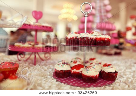 Delicious Cupcakes On Table