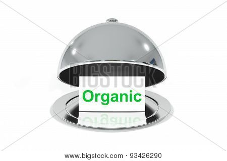 Opened Silver Cloche With White Sign Organic