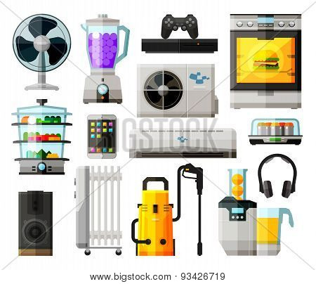 home appliances icons set. collection of elements - fan, blower, mixer, blender, game console, kitch