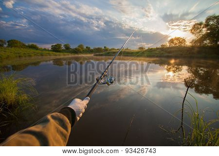 Fisherman Holding His Fish-rod
