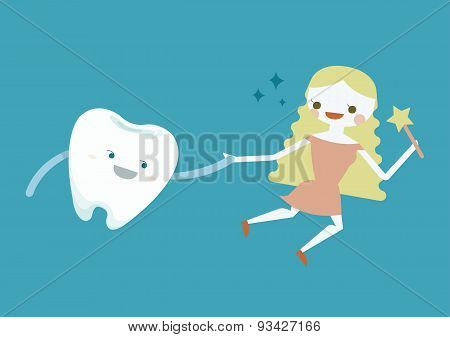 Tooth and fairy girl vector