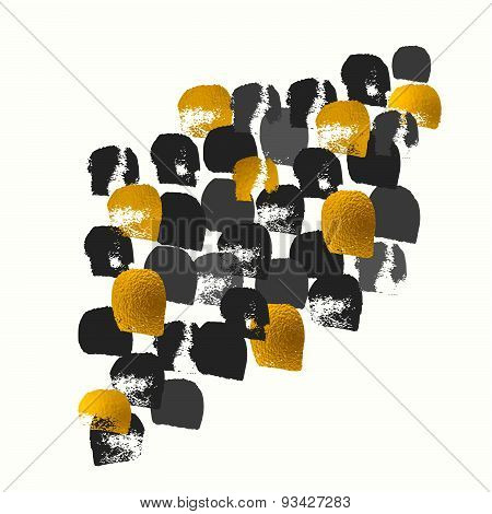 Golden Vector Painted Shape Pattern, Hand Drawn Watercolor Brush Grunge Textured Image