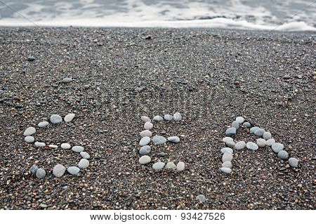 Inscription On The Seashore Sea