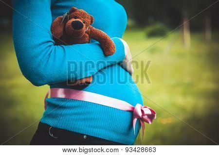 Pregnant Woman With A Teddy Bear