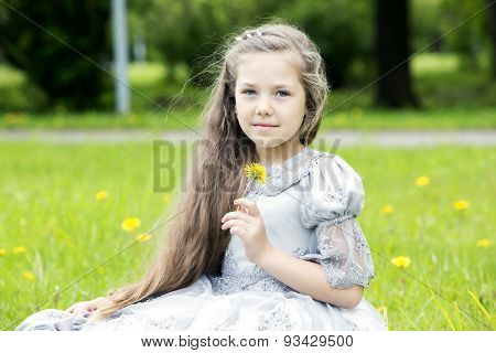Sweet Girl Holding Single Flower