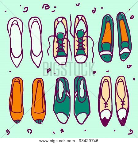 Shoes vector pattern