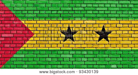 Flag Of Sao Tome And Principe Painted On Brick Wall