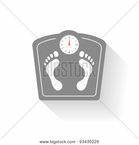Bathroom scales icons set. Weight control signs with footprint.
