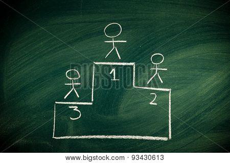 sketch on chalkboard of podium