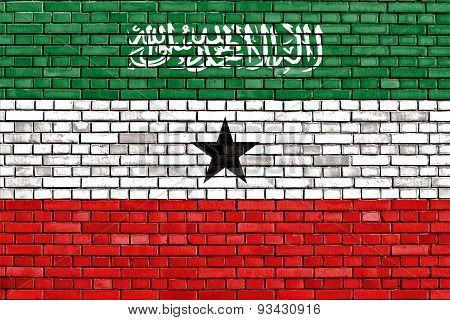 Flag Of Somaliland Painted On Brick Wall