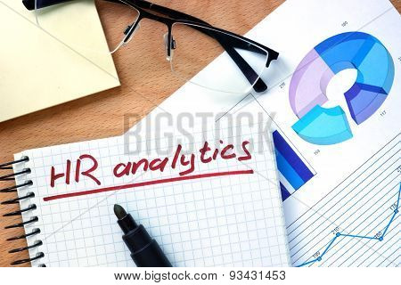 Notepad with words  hr analytics.