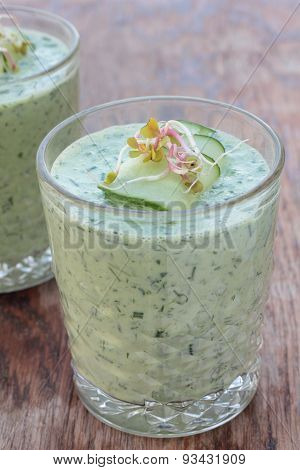 Cold cucumber and dill soup.