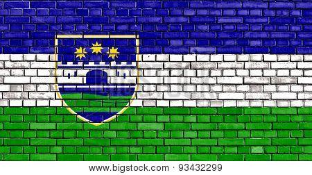 Flag Of Una Sana Canton Painted On Brick Wall