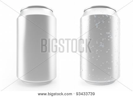 Set Aluminum Cans, Wet With Drops And Without, Isolated On White Background. 3D Illustration