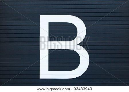 Garage door with letter B