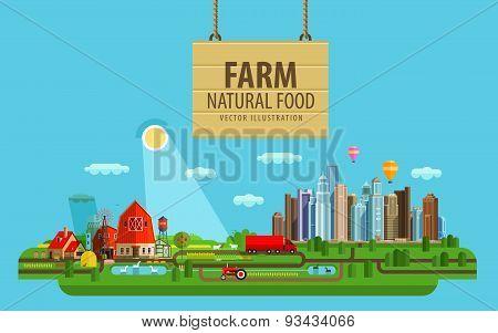 Natural food. Farm and city. Vector illustration