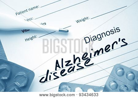 Diagnostic form with diagnosis Alzheimers disease.
