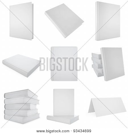 Set, collection white blank book.