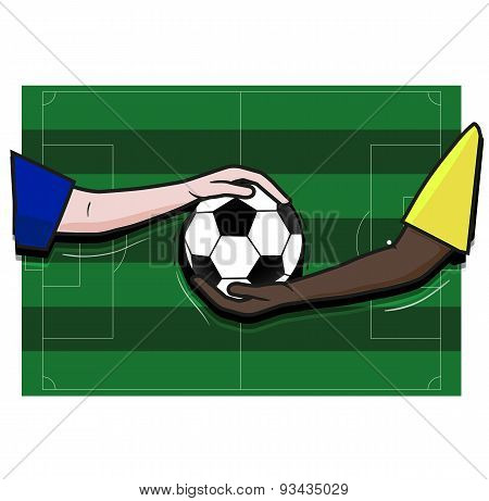 Soccer football field, hand player and ball,vector