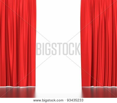 Open red silk curtains for theater and cinema with a white background.