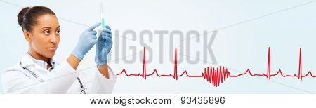 healthcare, vaccination, anesthesia and medical concept - african american female doctor holding syringe with injection over red heart shape and cardiogram