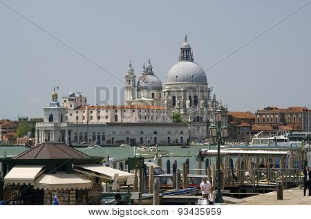 A view of Venice across to The Basilica Santa Maria Della Salute taken on a nice sunny day in June