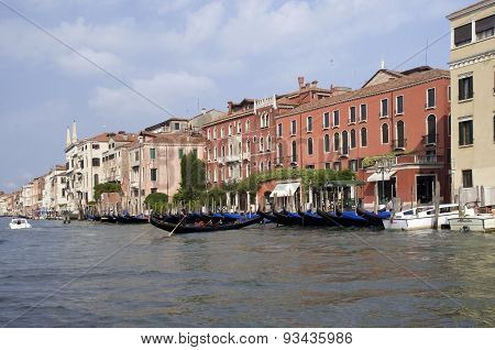 Gondola on the canal in Venice, Italy on a bright sunny day in June