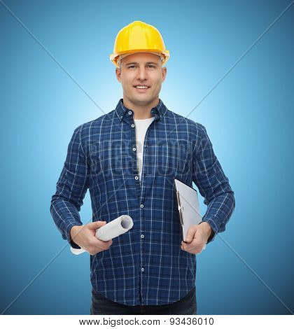 repair, construction, building, people and maintenance concept - smiling male builder or manual worker in helmet with blueprint and clipboard over blue background